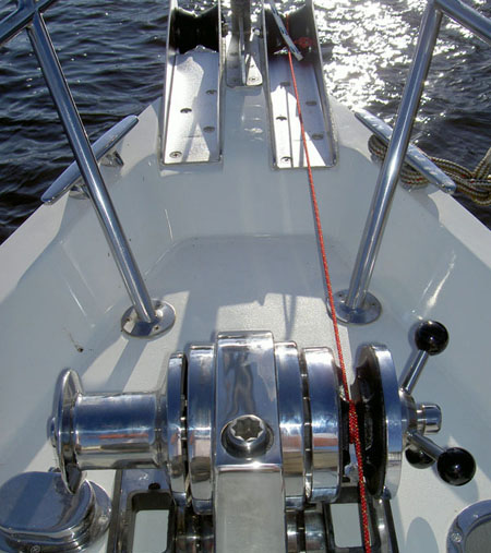 The completed bow with the Lighthouse windlass